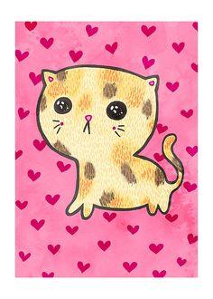 Sad Cat 5x7 Illustration Print by MyZoetrope on Etsy