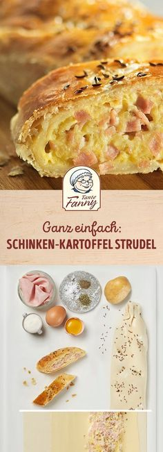 Schinken-Kartoffel-Strudel - Tante Fanny A spicy puff pastry strudel is quick and easy: Our recipe for ham and potato strudel is perfect for autumn Healthy Recipe Videos, Healthy Dessert Recipes, Snack Recipes, Healthy Vegetarian Breakfast, Healthy Breakfast Smoothies, Quick Easy Healthy Meals, Easy Snacks, Healthy Snacks, Recipes Breakfast Video