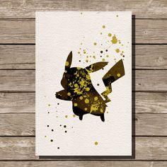 ポケモン ピカチュウの水彩イラスト アート子供部屋壁アート美術家の装飾保育園キャラクター オタク by ThunderDoam