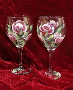 Hand Painted Wine Glasses  Burgundy and by SilkEleganceFlorals, $24.95