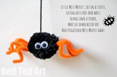 Little Miss Muffet..... aaaaah here is a cute little Spider Craft to go with that wonderful classic Nursery Rhyme. Make adorable little Pom Pom Spiders and then act out the nursery rhyme with your kids!