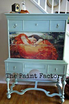 Flaming June image transfer.  Annie Sloan Chalk paint. $750 www.Facebook.com/ThePaintFactory