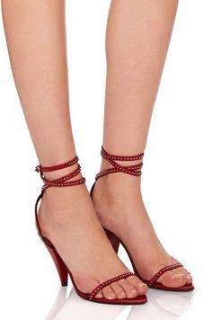 SAINT LAURENT | Era Crystal Trim Ankle Strap Heels #Shoes #SAINT LAURENT