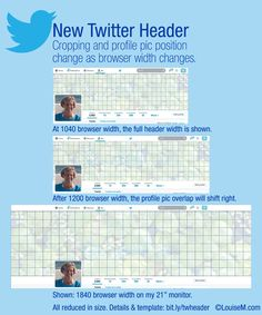 2014 Twitter header size comparison chart by Louise Myers