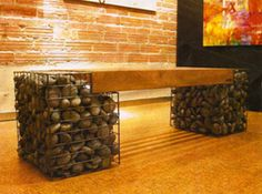 Bench with Gabion Baskets