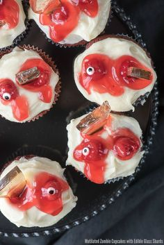Zombie Cupcakes with Edible Glass. Mutilated Zombie Cupcakes with Edible Glass Shards. Great for Halloween The Walking Dead or any ghoulish occasion. Zombie Cupcakes, Halloween Cupcakes, Corn Cupcakes, Halloween Food For Party, Halloween Treats, Halloween Halloween, Zombie Party, Halloween Drinks, Yummy Cupcakes
