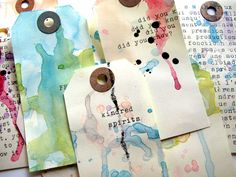 NOTE: Inspires creating a book using tags. Reminds me of the Smash Book I learned how-to make & added directions to a Image of 5 tags altérés / 5 altered tags Card Tags, Gift Tags, Cards, Paper Art, Paper Crafts, Little Presents, Handmade Tags, Scrapbooking, Copics