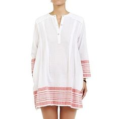 White Linen Tunic Dress With Pockets