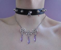 pastel goth pentagram necklace gothic jewelry by OfStarsAndWine
