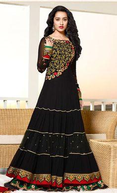 USD 163.15 Shraddha Kapoor Black Georgette Floor Length Anarkali Suit  36502