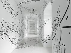 The Iranian artist Parastou Forouhar, now based in Germany, creates site-specific installations, investing the areas with Farsi writings. Taking control over walls and floors by decorating it with her native language, the artist builds a bridge between the two cultures that inhabit her. A wonderful project to discover.