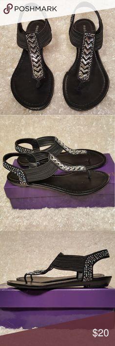 Madden Girl Black Jeweled Thong Sandals