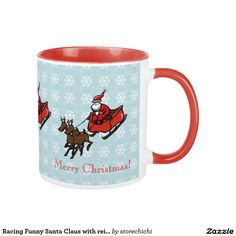 Racing Funny Santa Claus with reindeer and sleigh
