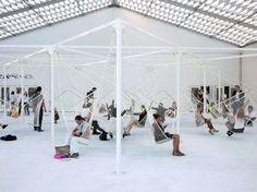 "mfdp: "" Industrial designer Konstantin Grcic installed seats made of netting…"