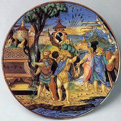 Plate (piatto): The story of Aeneas  Francesco Xanto Avelli da Rovigo (Italian (Urbino), active first half of 16th century)  Date: 1532 Culture: Italian, Urbino and Gubbio Medium: Maiolica (tin-glazed earthenware)