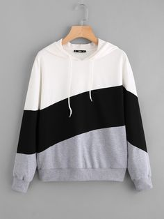 To find out about the Cut And Sew Hoodie at SHEIN, part of our latest Sweatshirts ready to shop online today! Stylish Hoodies, Cool Hoodies, Crop Top Outfits, Cute Casual Outfits, Kawaii Clothes, Mode Hijab, Teen Fashion Outfits, Korean Outfits, Sweat Shirt