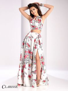 Sleeveless mikado two piece prom dress with abstract print. Classy Prom Dresses, Unique Prom Dresses, Prom Dresses With Sleeves, Plus Size Prom Dresses, Homecoming Dresses, Pretty Dresses, Pageant Dresses, Top Y Pollera, Moda Floral