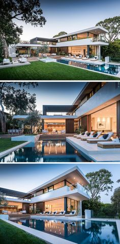 Landscaping Design Ideas - 11 Backyards Designed For Entertaining | Multiple seating areas, a large swimming pool, and a kitchen area with dining table, create a backyard that's perfect for hosting a party.