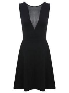 V Mesh Insert Skater Dress - Going Out Dresses  - Dress Shop ..DERBY