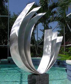 Abstract Metal Garden Sculpture / Triple C Art by statements2000, $325.00