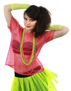 NEON CHIFFON TUTU SKIRT  80/'S FANCY DRESS PARTY  SIZE 8-12 PINK YELLOW WOMENS