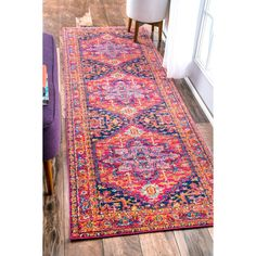 nuLOOM Persian Medallion Pink Runner Rug (2' 8 x 8' ) (Pink), Size 2' x 8' (Synthetic, Border)