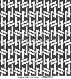 #Abstract #repeatable #pattern #background of white twisted strips bands with black strokes. Swatch of intertwined zigzag bands. Seamless pattern in vintage style.