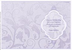 BIRTHDAY INSERT Lilac Silver for portrait cards on Craftsuprint designed by Janet Briggs - Birthday insert for A5 portrait cards.Embossed effect flourish on background. Framed plaque, including birthday verse. - Now available for download!