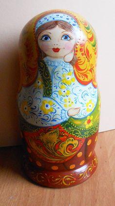 "Nesting dolls (matryoshka) in  Russian style #khokhloma handmade. Set of 5 puppets a tall #matryoshka dolls largest ~ 6.9"" (17,5 cm).  Traditionally Russian souvenir Matryosh... #handmade #babushka"
