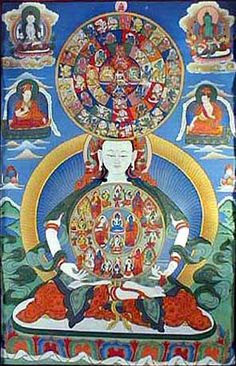 "This Thangka shows the ""Bardo"", described in detail in the famous ""Tibetan Book of the Dead"". This shows the various forms of the deities who manifest themselves to the subtle consciousness of the person during the between state after death and before birth. Here the Buddha Vajrasattva is depicted holding a Mandala in his hands which shows 34 peaceful Bardo goddesses. This Mandala is held like a mirror in front of the deceased person.  A second Mandala on top shows 58 wrathful Bardo…"