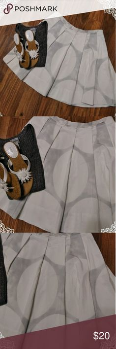 "Gap cotton skirt Easy breezy cotton skirt. Super cute, casual summer skirt, cute with sandals. Pleated but lays nicely, not big and super full. Pattern is white with really light gray large circle's, nothing like polka dots. Fun for running errands, going to the movies, picnics, lunch w friends, drinks on outdoor patio, festivals. Not lined. Casual, cool, summer skirt Waist 32"" length 18"" GAP Skirts A-Line or Full"