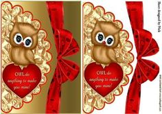 CUTE OWL ON HEART WITH SCALLOPED ENVELOPE on Craftsuprint - Add To Basket!