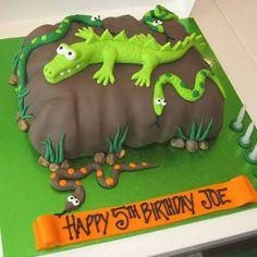 Crocodile Rock Thats My Cake Alligator Birthday Parties, Alligator Party, Boy Birthday, Alligator Cake, Animal Birthday Cakes, Creative Birthday Cakes, Animal Cakes, Crocodile Cake, Crocodile Party