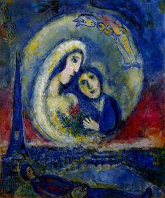 Marc Chagall, Il sogno- Il sogno del pittore si materializza sopra Parigi: splendido!