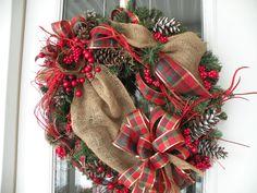 Burlap Christmas Wreath Christmas Wreath by KathysWreathShop, $69.99