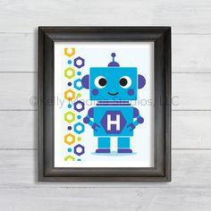 Personalized Robot Boy Wall Art Print Blue by Kellymedinastudios, $15.00