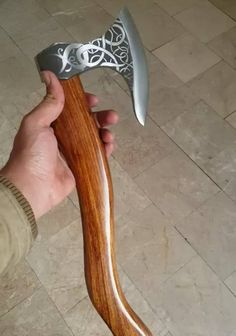 custom handmade tomahawk breaded shape viking engraved axe with rose wood handle and leather sheath - Everything About Camping Tools Swords And Daggers, Knives And Swords, Costume Viking, Vikings, Wood Axe, Survival Axe, Viking Axe, Viking Beard, Viking Ship