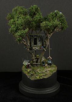 "Toms' treehouse - scale by Oliver ""HonourGuard"" Späth · Putty&Paint Garden Terrarium, Bonsai Garden, Fairy Tree Houses, Bonsai Tree Types, Plantas Bonsai, Landscape Model, Mini Fairy Garden, Tree Images, Bonsai Art"