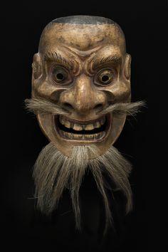 Regional Masks Japan - Demon, ca. 19th century Lacquered wood, brass, hair