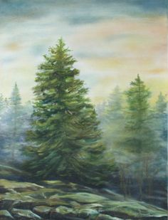 "Dawn Mist Alone by Shelley Bauer Oil ~ 24"" x 18"""