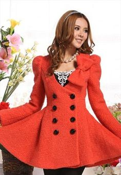 cashmere RED coat Bow BROOCH double-breasted g075 from YRBfashion