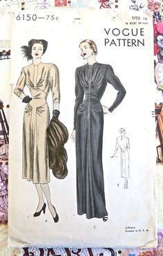 Vogue 6150  Vintage 1940s Evening Dress Pattern with by Fragolina