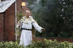 The Myths and Mysteries of Mistletoe: A modern Druid blesses Christmas mistletoe in a celebration Tenbury Wells, England.
