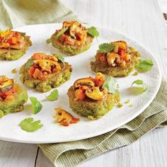 Split Pea Mini Pancakes with Mushroom Relish | MyRecipes.com