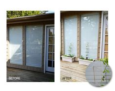 Vining plants look beautiful and are easy to take care of on decks infront of patio windows by creating trellises to hold them up - create them by using twine and Command™ Outdoor Large Clear Window Hooks! Click the link for the how-to!