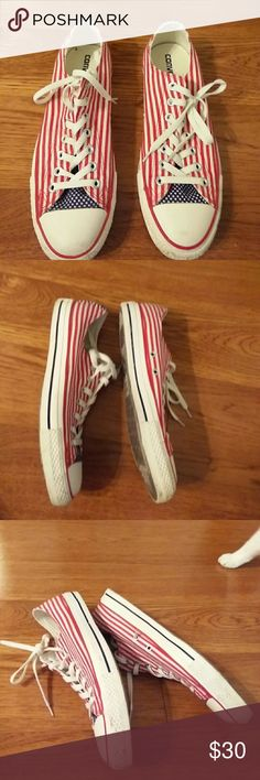Converse All Star Sneakers sz 11 B Preowned barely worn condition. The fabric in excellent condition, the rubber can use a cleaning, but barely. Only worn a handful of times. Wear shows on the bottom. No stains or wear to fabric. Almost new. Converse All Star Shoes Sneakers