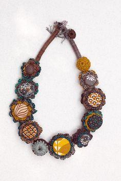 Fiber art necklace statement eco friendly jewelry by rRradionica