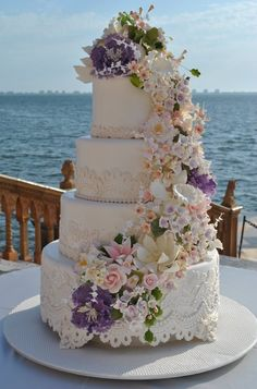 Handmade fondant lace and flowers ...Beautiful wedding cake by The Cake Zone at The Ringling Museum in Sarasota , FL