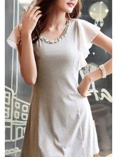 Beaded Neckline Ruffle Sleeved Chiffon Dress