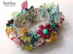 bracelet-Riotous Garden Wire Crochet - ClearlyChosen Swarovski ...